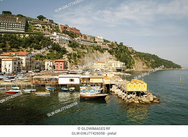 High angle view of stilt houses on a pier, Marina Grande, Capri, Sorrento, Sorrentine Peninsula, Naples Province, Campania, Italy