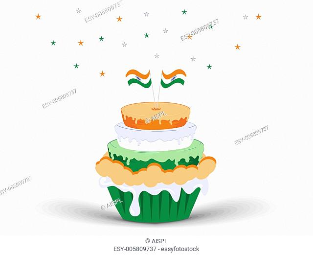 An Indian flag color Ice-cream with Indian Flags. vector illustr