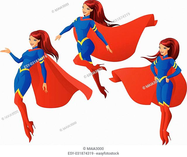 Set of women in blue and red superhero outfit in three different poses. Cartoon vector illustration isolated on white background