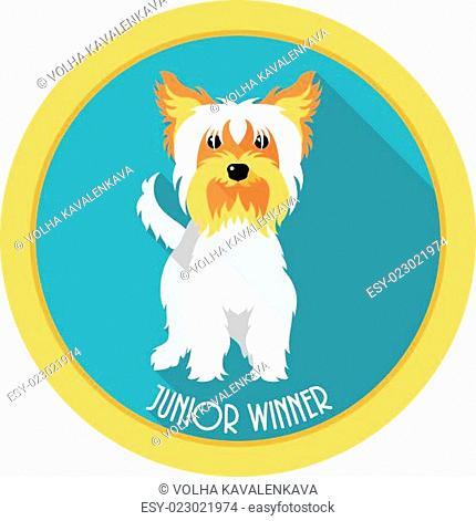 dog Junior winner medal icon flat design