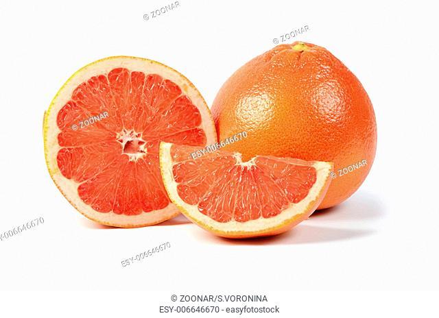Bright grapefruit isolated on white background