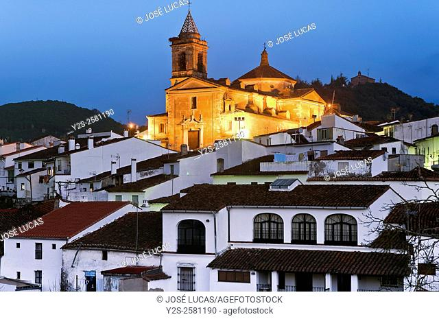 Urban view at dusk, Galaroza, Huelva province, Region of Andalusia, Spain, Europe