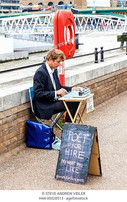 England, London, Southwark, Bankside, Poet for Hire