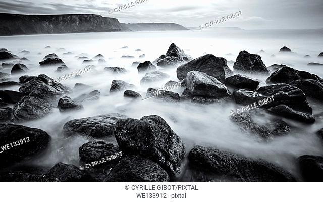 Long exposure of rocky coastline, Crozon Peninsula, Finistere, Brittany, France