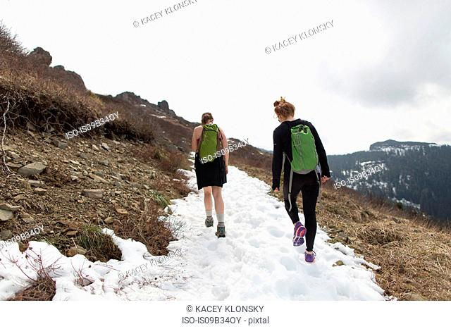 Two young women hiking along mountain-side, rear view, Silver Star Mountain, Washington, USA