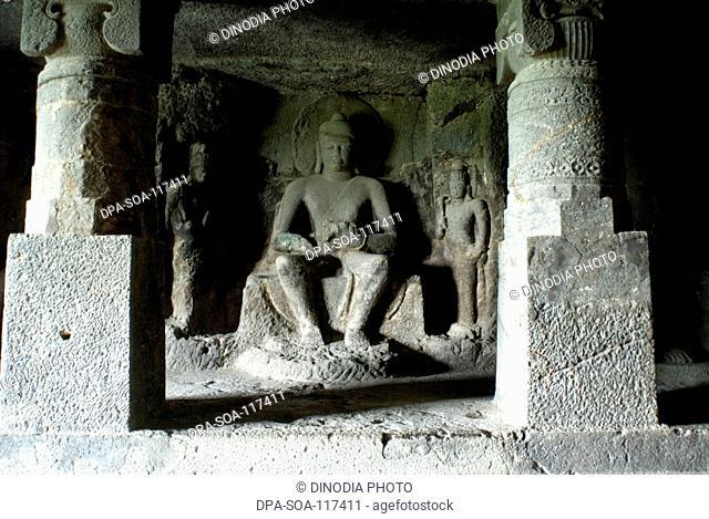 Statue of Buddha in Ellora caves ; Aurangabad ; Maharashtra ; India