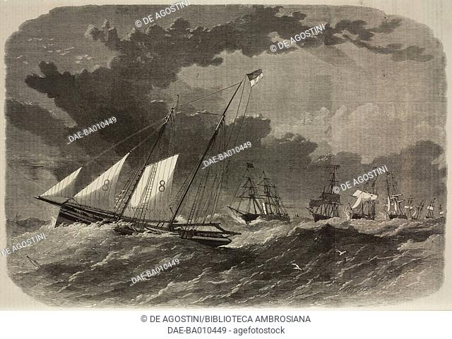 The Liverpool pilot-boat no 8 leading twelve vessels into the Mersey during a gale, United Kingdom, illustration from the magazine The Illustrated London News