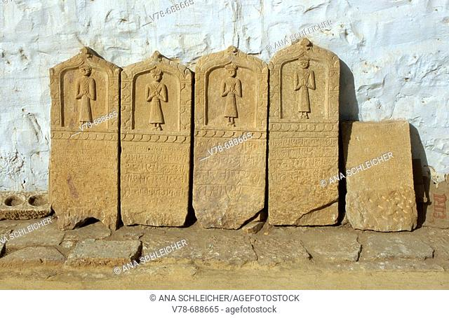 Stelae of women who immolate themselves according to 'sati' practice, Jaisalmer. Rajasthan, India