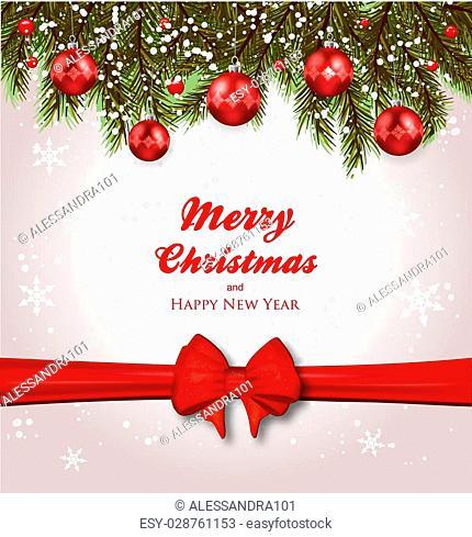 Christmas background-Fir and Christmas balls