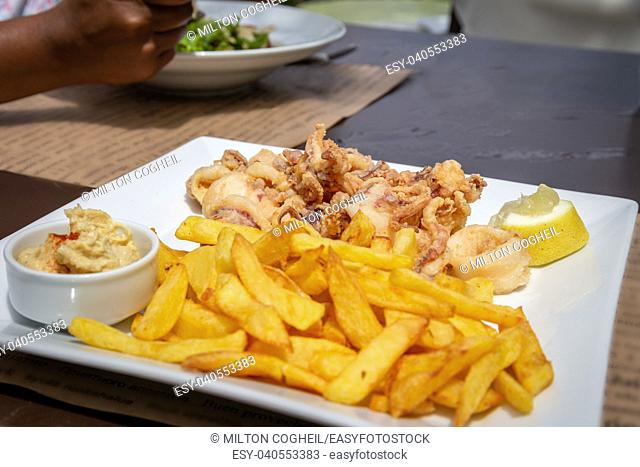 A plate of fried calamari and chips with s pot of hummus