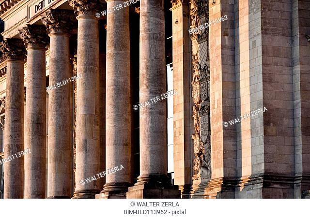 Columned building with relief carvings, Berlin, Germany