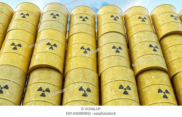 Many yellow barrels with nuclear radioactive waste. 3D rendered illustration