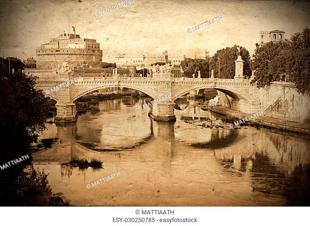 Retro and vintage styled view of Sant'Angelo Bridge and Sant'Angelo Castle in Rome (Saint Angel) with grunge texture as background