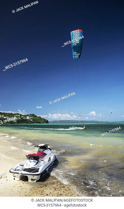 jet ski on exotic asian tropical paradise beach in boracay island philippines