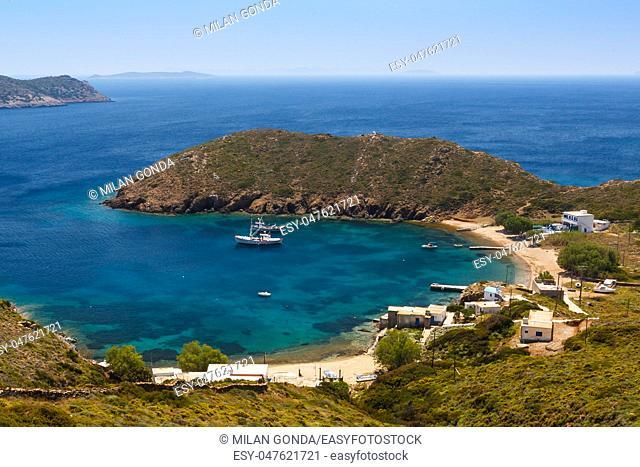 Keramidou beach on Thymaina island in Fourni Korseon, Greece.