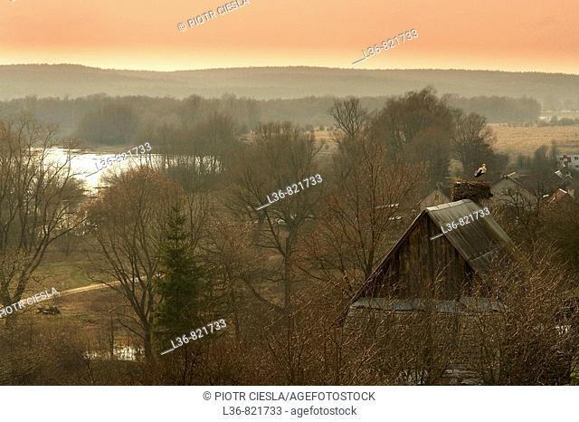 A view Podlasie. Mielnik villiage. Nadbuzanski Scenic Park. Nadbuzanski Park Krajobrazowy. Early spring