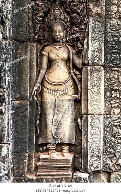 Bayon Temple Angkor Thom, Cambodia. Ancient Khmer architecture