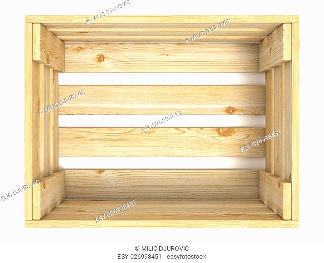 Empty wooden crate. Top view. 3D render illustration isolated on white background
