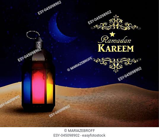 lantern with magic light stands in the desert at night sky with moon and cswirl frame vector