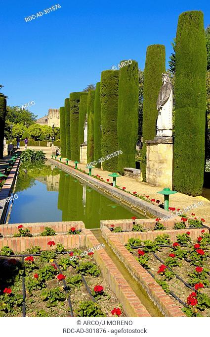 Garden of Alcazar de los Reyes Cristianos, Cordoba, Andalusia, Spain / Alcazar of the Christian Monarchs, Alcazar of the Catholic Kings