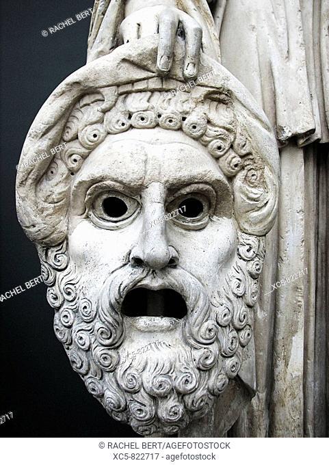 NY Carlsberg Glyptotek Detail of the sculpture Melpomene muse of tragedy Monte Calvo, 2nd Century A D Marble