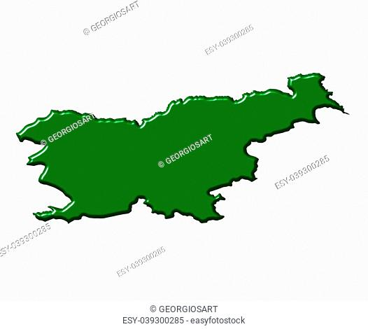 Slovenia 3d map with national color isolated in white