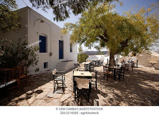 Open-air cafe in the town center Chora, Amorgos, Cyclades Islands, Greek Islands, Greece, Europe