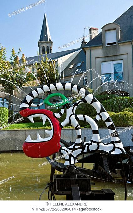 The Fountain by French artist Niki de Saint Phalle in collaboration with Swiss painter and sculptor Jean Tinguely in Chateau-Chinon, Nievre (58), Burgundy
