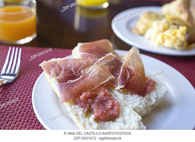 Pan a la Catalana Spanish breakfast Serrano ham ant tomato on bread