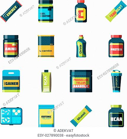 Sports nutrition food icons in flat style detailed illustration. Sports food nutrition healthy food and sports nutrition fitness diet