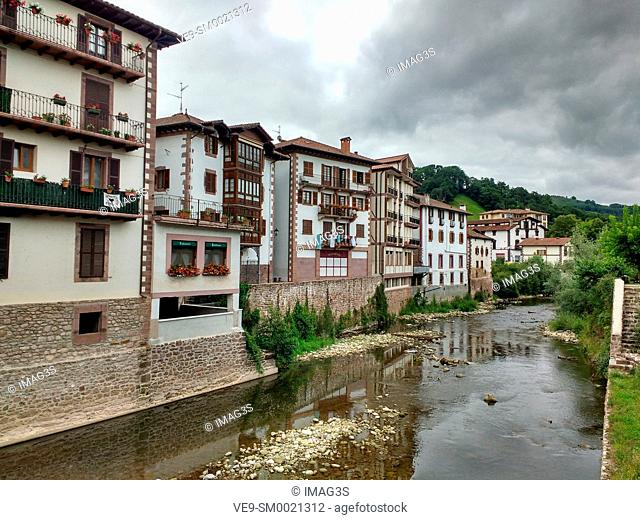 Baztan river and Elizondo village, Baztan valley, Navarre, Spain