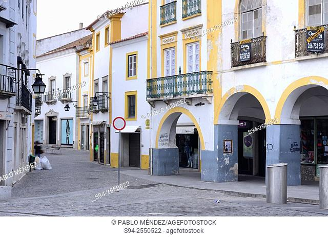 Street or Rua Joao de Deus in Evora, Portugal