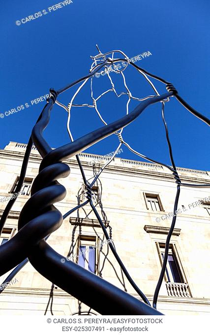Castellers human tower modern statue at Placa de Sant Miquel