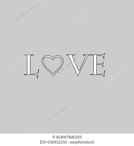 text Love Simple line vector button. Thin line illustration icon. White outline symbol on grey background
