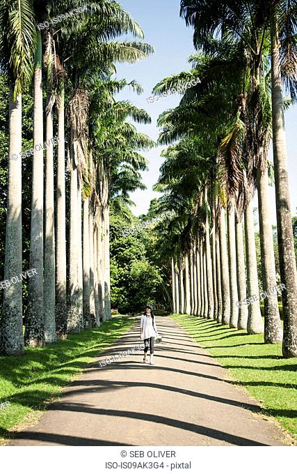 Woman walking along pathway, Royal Botanic Gardens Peradeniya, Kandy, Sri Lanka
