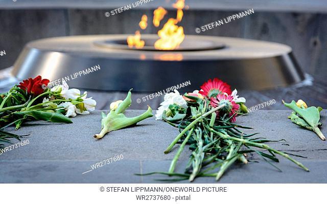 Armenia, Yerevan, Kentron, Eternal Flame at the Genocide Memorial