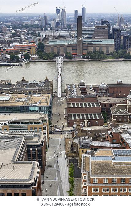 Millennium Bridge, Tate Modern, Cityscape from the gallery of St Paul's Cathedral, London, England, UK