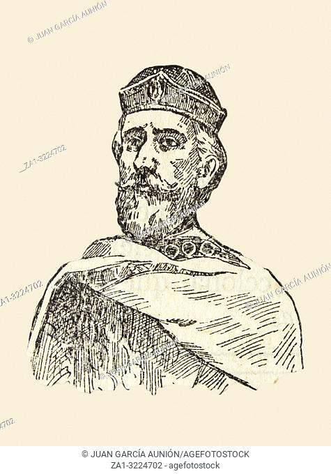Badajoz, Spain - Jan 7th, 2019: Berenguer Ramon I, count of Barcelona, Girona, and Ausona from 1018 to 1035. Draw from book Enciclopedia Autodidactica published...