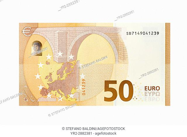Fifty Euro banknote on a white background
