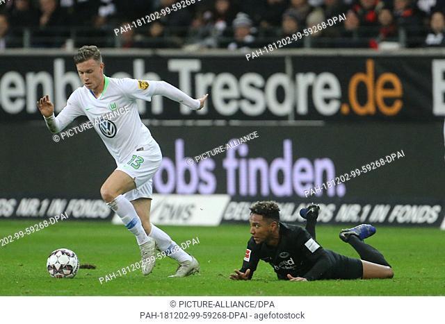 02 December 2018, Hessen, Frankfurt/M.: Soccer: Bundesliga, Eintracht Frankfurt - VfL Wolfsburg, 13th matchday in the Commerzbank Arena