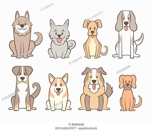 Collection of different kinds of dogs isolated on white background. Hand drawn dogs sitting in front view position. Vector illustration