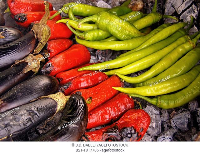 Grilled vegetables: eggplants, tomatoes and pepper fruits, Turkey