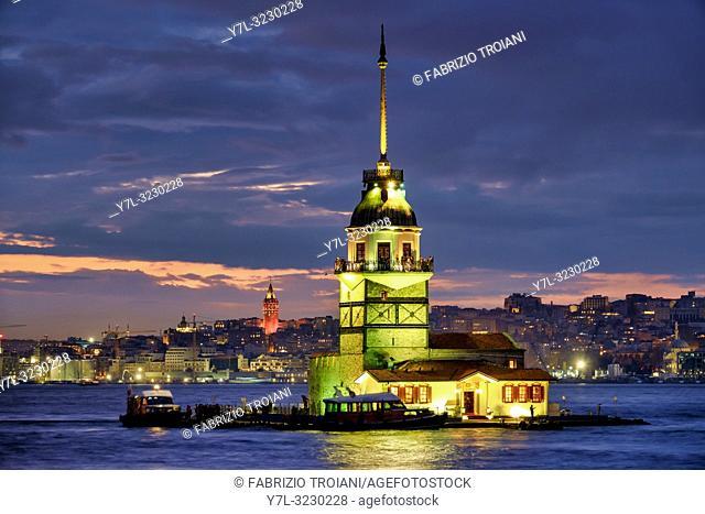 Maidenâ. . s Tower (also known as Leander's Tower), Üsküdar, Istanbul, Turkey