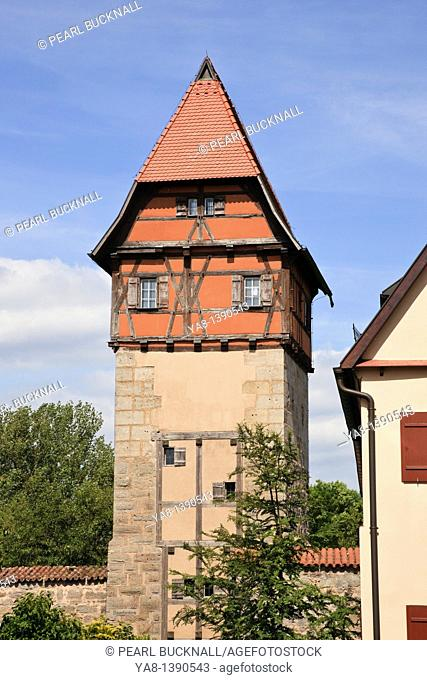 Dinkelsbühl, Bavaria, Germany, Europe  16th century Bauerlin a half timbered tower in the town walls in medieval Altstadt on the Romantic Road Romantische...