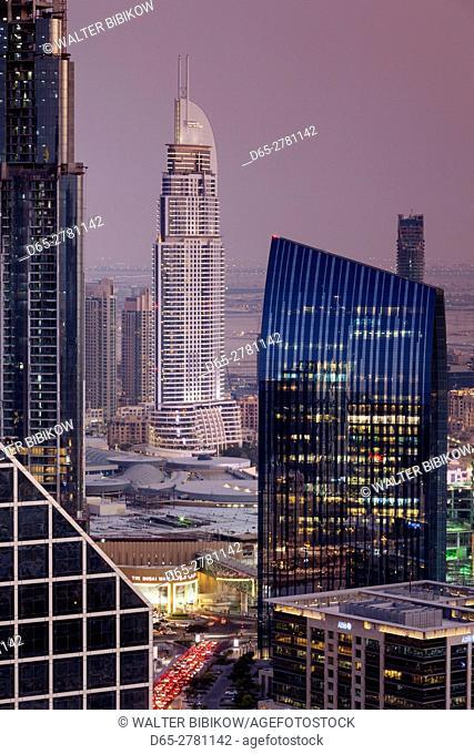 UAE, Dubai, Downtown Dubai, The Address Downtown Hotel, elevated view, dusk