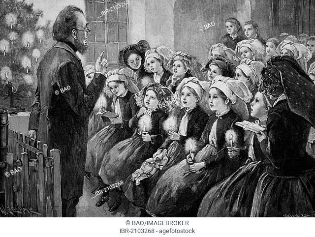 Christmas celebration at a school in the Spreewald, Germany, wood engraving, about 1880
