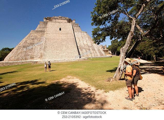 Pyramid of the Magician in prehispanic Mayan city of Uxmal Archaeological Site, Yucatan Province, Mexico, North America