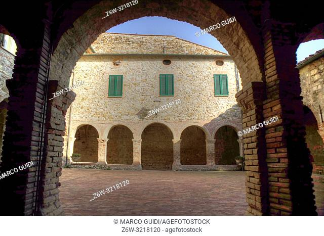 Inside view of the place of worship of the Chiostro di Suvereto Toscana