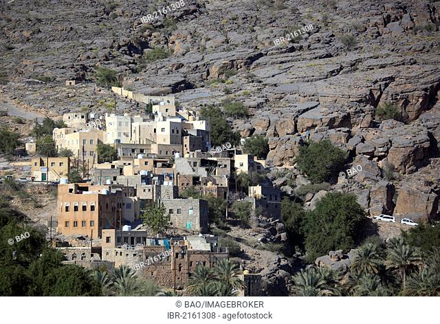Al-Hamra, one of the oases in the Jebel Shams area, here the district of Misfah, Oman, Arabian Peninsula, Middle East, Asia