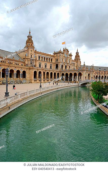 Plaza de España in Seville with the building of the National Geographic Institute in the background